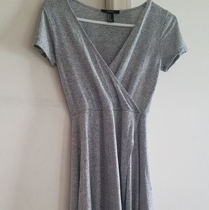 Forever 21 M Cinched Waste Light Gray Dress